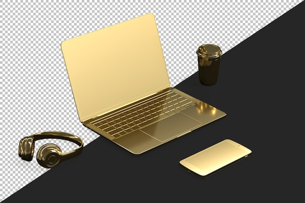Minimalistic illustration of a golden laptop and accessories
