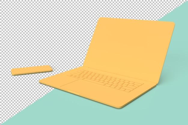 ラップトップコンピューターと携帯電話のミニマルなイラスト