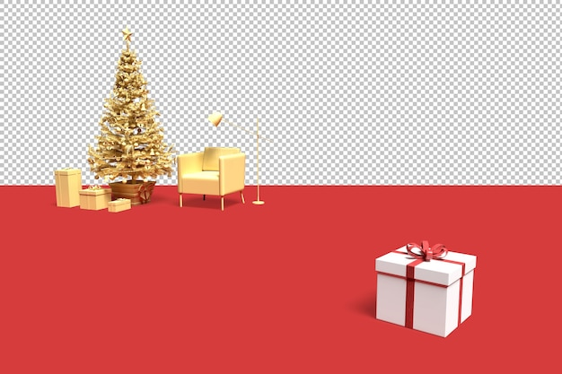 Minimalistic interior scene with christmas tree and gift boxes