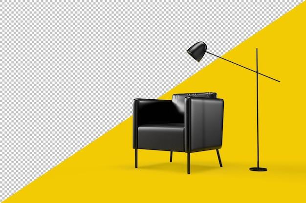 Минималистичный интерьер с креслом и лампой в 3d-рендеринге изолированы