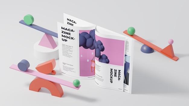 Minimalistic magazine mock-up composition