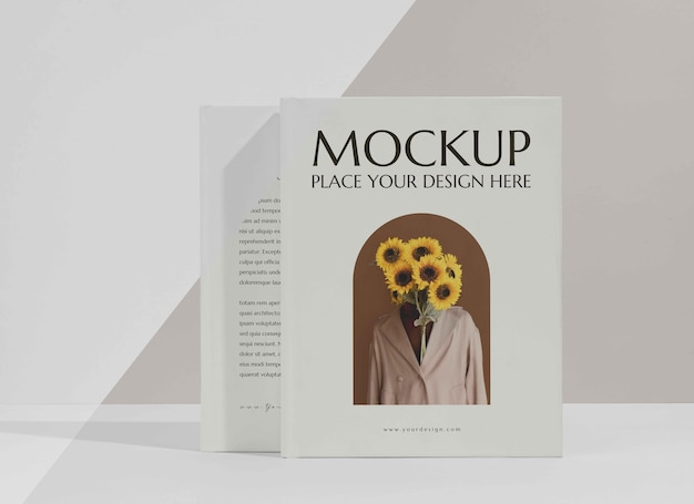 Minimalistic mock-up book arrangement
