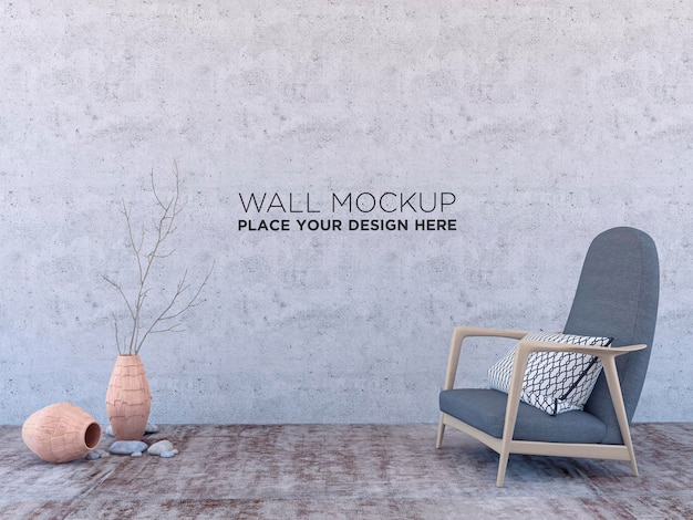Minimalistic modern interior with an armchair, mockup for your design. you can use this mockup to display your artwork on the wall