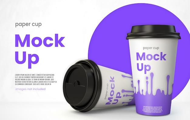 Minimalistic paper coffee cup mockup on modern