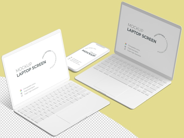 ノートパソコンの画面と電話のモックアップのあるミニマルなシーン