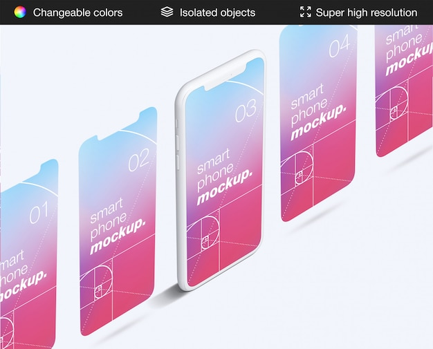 ミニマルなスマートフォンアプリの画面のモックアップテンプレート