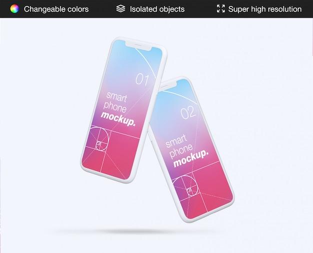 ミニマルな2つのフローティングスマートフォンアプリの画面のモックアップテンプレート