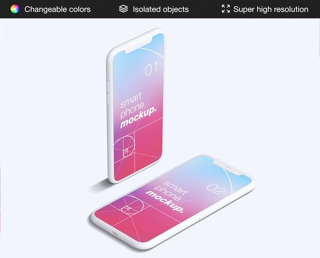 ミニマルな2つの高角度のスマートフォンアプリの画面のモックアップテンプレート