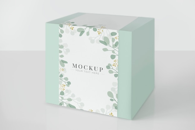 Mint green packaging box mockup