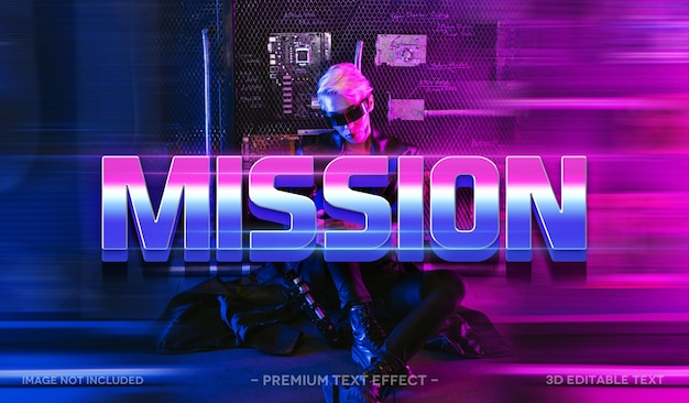 Mission 3d text effect mockup template