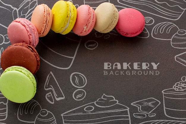 Mix of macarons with mock-up
