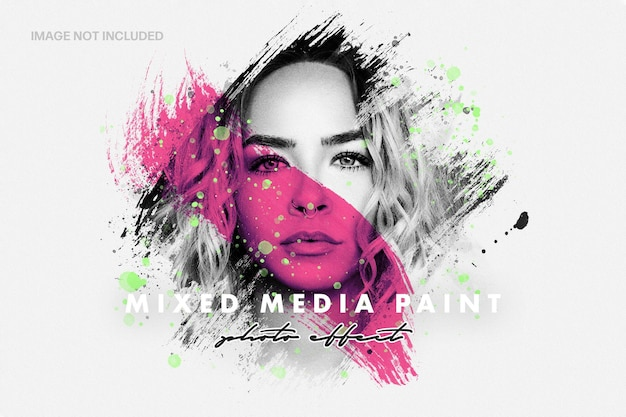 Mixed media paint photo effect template