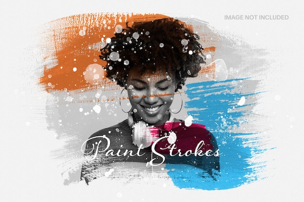 Mixed media paint strokes photo effect template