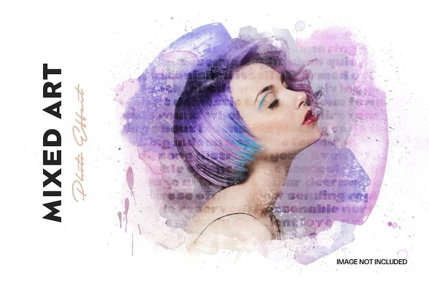 Mixed media watercolor photo effect template