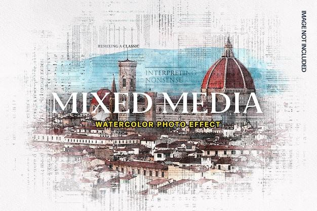 혼합 매체 수채화 사진 효과 프리미엄 PSD 파일