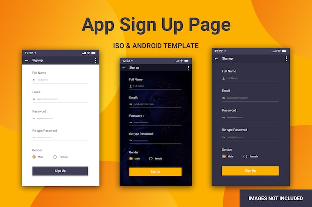 Mobile app sign up page