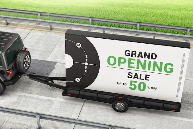 Mobile billboard ad trailer on the road mockup
