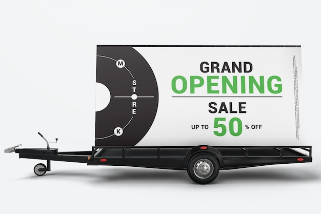 Mobile billboard advertising trailer mockup