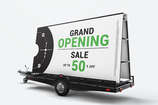Mobile billboard trailer mockup