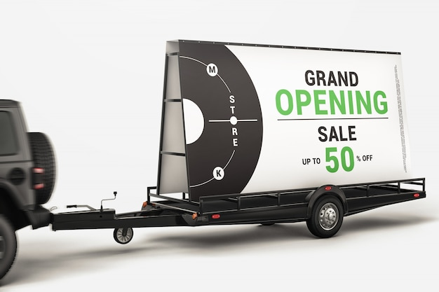 Mobile billboard trailer with car mockup