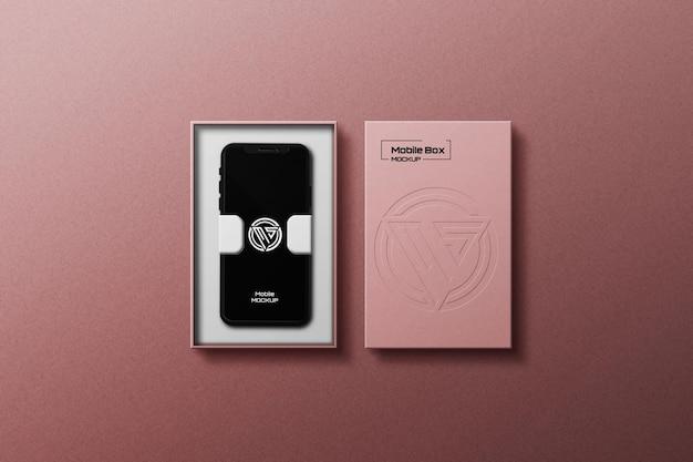 휴대 전화로 모바일 상자 목업