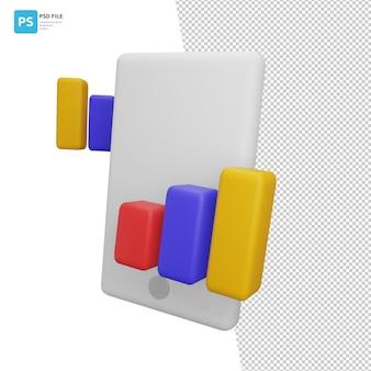 3dイラストレーションデザインアセットのモバイルグラフ