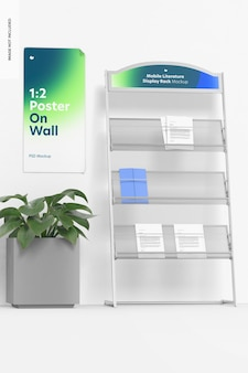 Mobile literature display rack mockup with plant