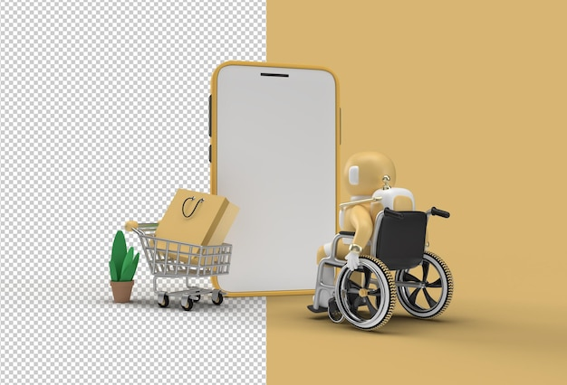 Mobile online shopping mockup with astronaut in wheelchair web banner transparent psd file.