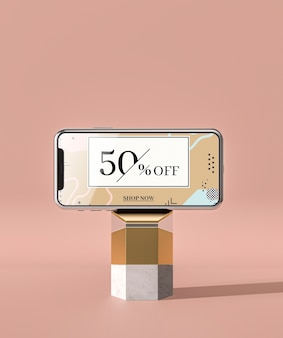 Mobile phone 3d mock-up on marble