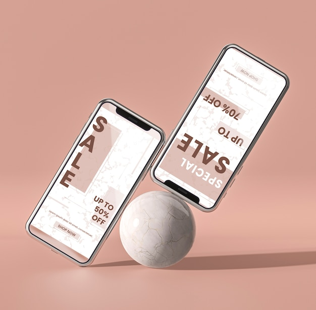 Mobile phone 3d mock-up and white ball concept