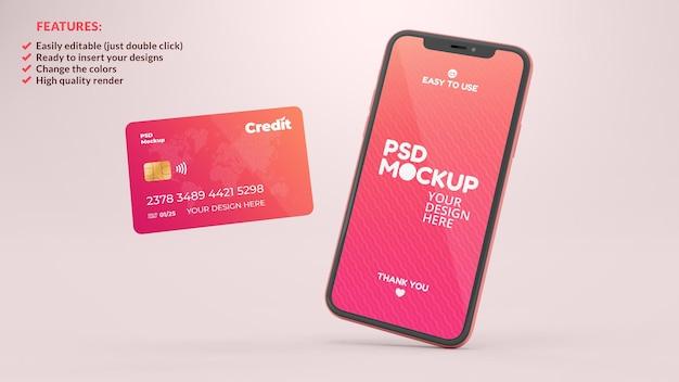 Макет мобильного телефона и кредитной карты в реалистичном 3d-рендеринге