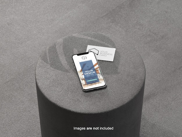 Mobile phone and business card mockup on seat