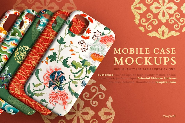 Mobile phone case mockups psd set chinese pattern back view product showcase