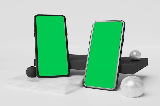 Scene creator 광고를위한 휴대폰 모형 3d 렌더링