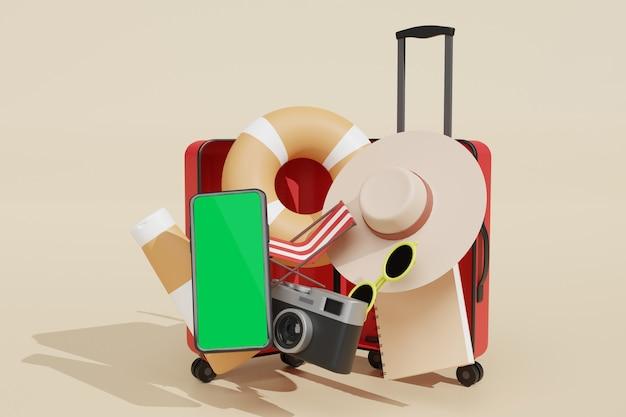 夏休みの広告テーマのシーンクリエーターの携帯電話のモックアップ3dレンダリング