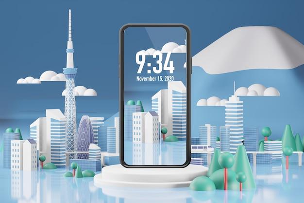 携帯電話のモックアップ3dレンダリング