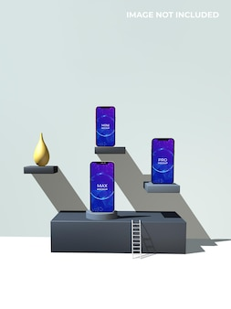 3dレンダリングでの携帯電話のモックアップデザイン