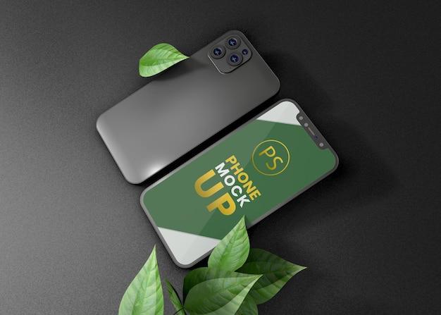 Дизайн макета мобильного телефона с темным фоном