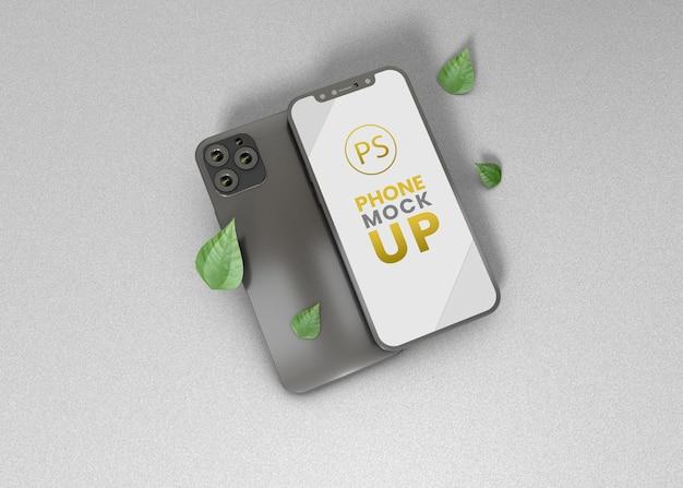 Дизайн макета мобильного телефона с белым фоном