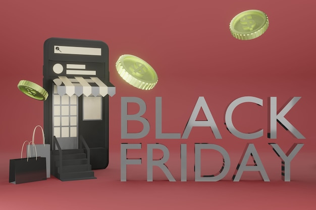 온라인 쇼핑의 3d 렌더링에서 휴대 전화 모형