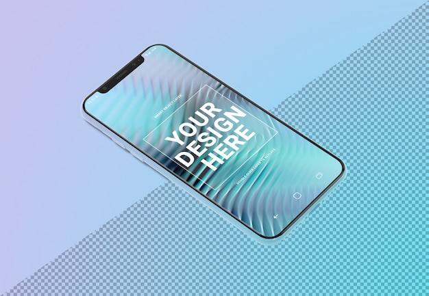 Mobile phone mockup laying on gradient