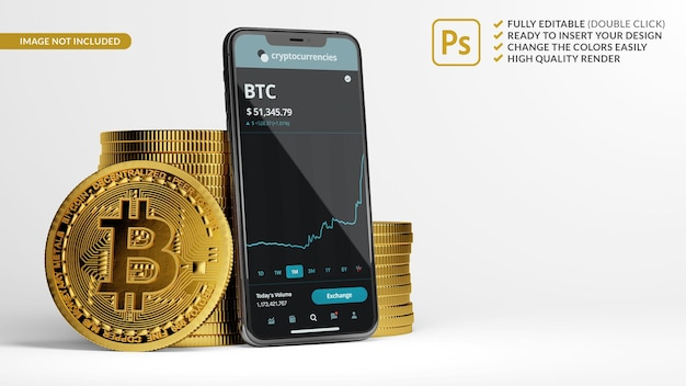 Mobile phone mockup next to stacks of bitcoins in 3d rendering