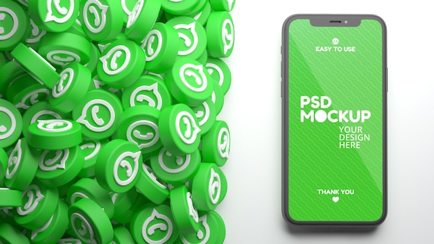 Mobile phone mockup with a heap of whatsapp icons in 3d rendering
