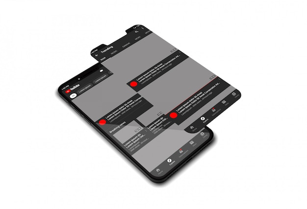 Макет мобильного телефона с приложением youtube