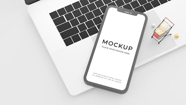 미니 쇼핑 카트와 노트북에 휴대 전화