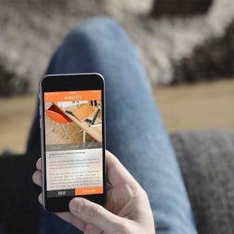 Telefono cellulare schermo mock up di progettazione