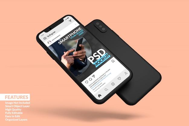 ソーシャルメディアの投稿テンプレートプレミアムを表示するためにフローティングしている携帯電話の画面のモックアップ