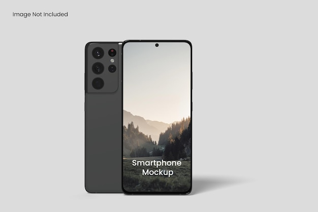 Mobile phone screen mockup front view angle