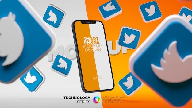 트위터 아이콘으로 둘러싸인 휴대폰 화면 모형