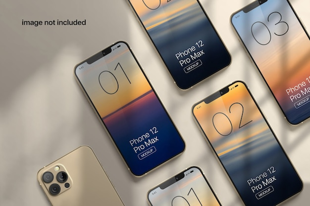 그림자 오버레이가있는 휴대 전화 화면 모형